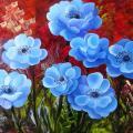 """Mėlyni anemonai "" 50x35"