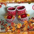 Двухцветные пинетки для девочки