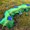 """vidosgalerija - Žalias šalikėlis su žibuoklėmis """"Pavasaris"""""""