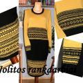 Geltona-juoda suknelė