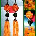 Ilgi oranžiniai auskarai