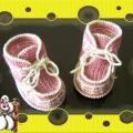 Розовые пинетки-ботиночки для малышки