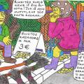 Burtininkė Nukliopa turguje apžiūrinėja šluotas