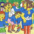 Jaunavedžius Naitmeną ir Marijaną Katinų kieme sveikina svečiai