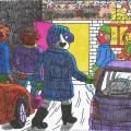 Šunėnų šeimos trijulė atvyko prie kaimo biliardinės, ten sutikti Naujuosius