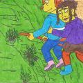 Archeologė Luna ir Skirmantė Papyvesyje pirmąkart skrenda ant šluotos