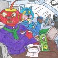 Batuotas Katinas ir Tukurutis pietaudami valgo savo automobilyje