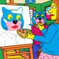 Batuotas Katinas svečiuodamasis dailininkės Elegijos namuose buvo jos nutapytas paveiksle