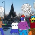 Kupkinukas Panevėžyje su Muse Šunėniene eina link miesto eglės