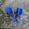 Ryškiai mėlynos su kailiuku
