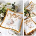 Siuvinėta pagalvėlė vestuviniams žiedams