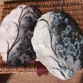 veltinio servetėlės dedoruotos audiniu ovalios