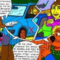Vienaturtis - Kaimynai nyciečiai drauge aptarinėja archeologės Lunos nusipirktą automobilį