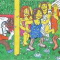 Vienaturtis - Popierius Popierėnas su viešniomis pamergėmis šoka lauke, per lietų