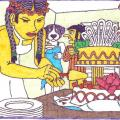 Jaunamartė Amarilė pjausto tortą
