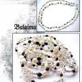 Bulaima - Perlų, krištolo ir agatų vėrinys